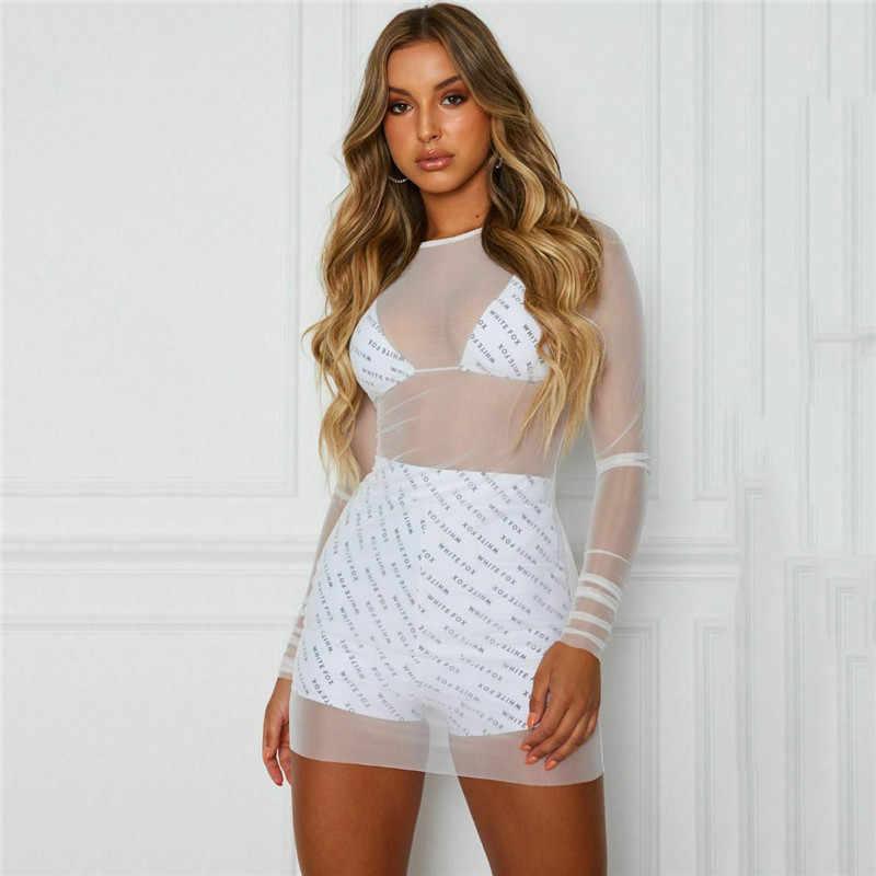 여성을위한 섹시한 블랙 화이트 커버 드레스 여름 패션 긴 소매 투명 슬림 스키니 드레스 숙녀 clubwear 통해 볼