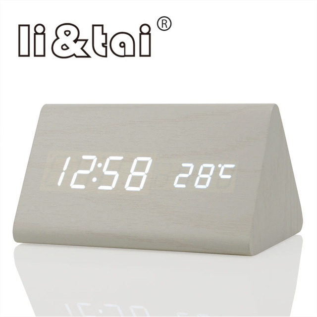 db3071376e0 Li   Tai trilateral Soa Controle LED De Madeira Alarme Digital Temperatura  Relógio Calendário Eletrônico Display