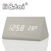Li&Tai Wood LED Digital Alarm Clock Temperature Sounds Control Calendar LED Display Electronic Wood Desktop Digital Table Clocks стоимость