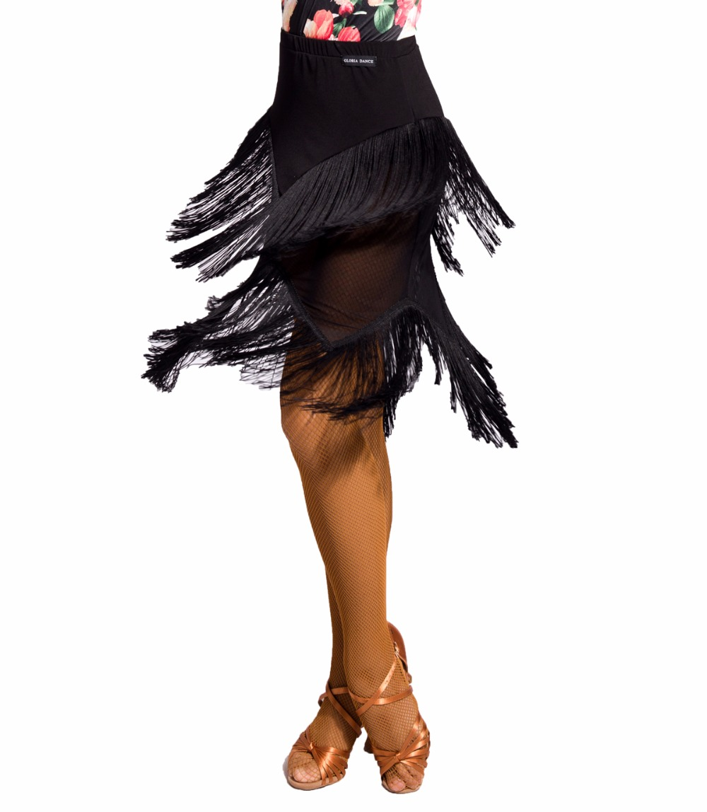 G2030   Latin Ballroom Dance Professional Half Perspective Tassels Stitching Skirt