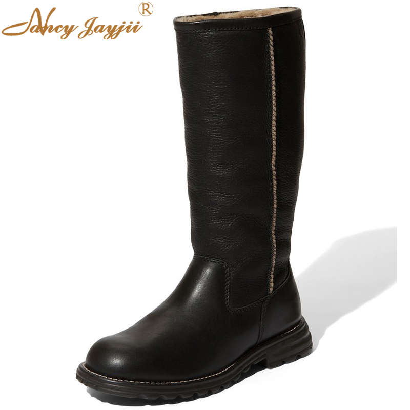 BC Fashion Winter Warm Women Boots Flat Heel Round Toe Platform Shoes Solid Slip On Mid Calf Boots Woman,Plus 4-16,Zapatos Mujer eiswelt women mid calf boots winter snow boots warm round toe flat shoes female fashion lace up boots plus size zqs182 page 8