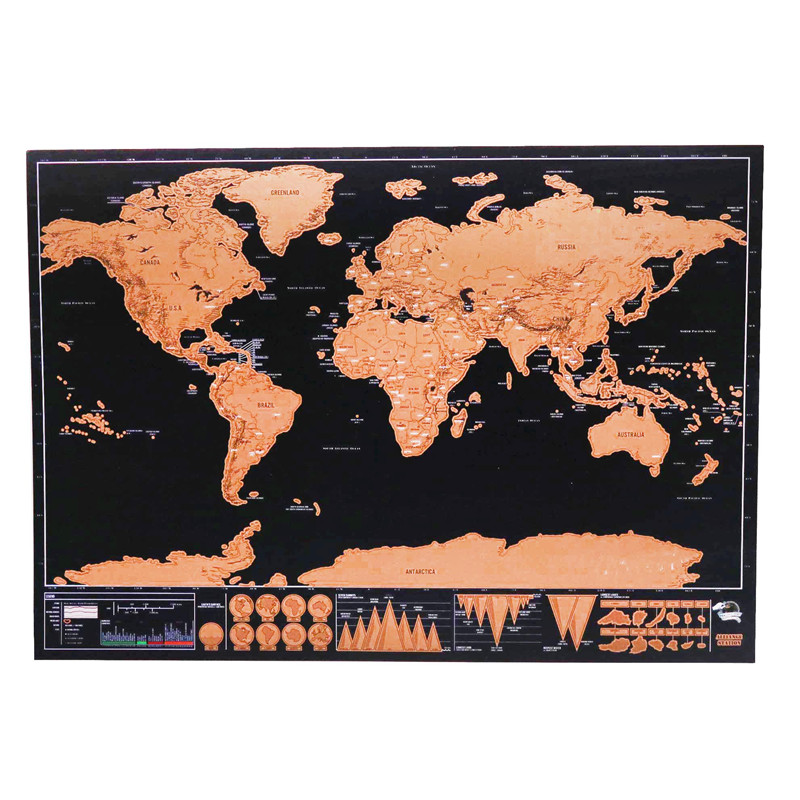 2 Pcs Scratch Map Home Decoration Map Colorful Decorative Map Poster World Map Painting Plastic Surface Waterproof