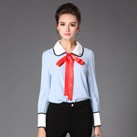 Preppy Contrast Ribbon Bow Tie Shirt Women Long Sleeve Collar Shirts Blouses Plus Size L To