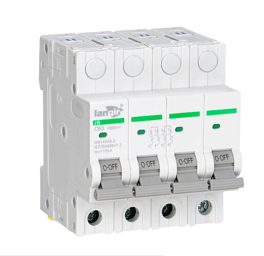LANGIR 4P 1000VDC MCB C Curve Din Rail Moulded Case Circuit Breaker Switch For DC And Solar Generation 400 amp 3 pole cm1 type moulded case type circuit breaker mccb