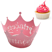 1set/12pcs Pink Princess Paper Cake Cup Liners Baking Cup Muffin Kitchen Cupcake Cases