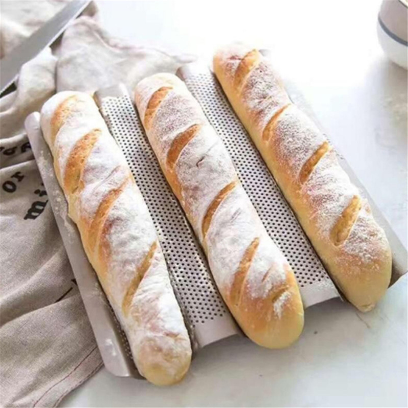 3-slot Non-stick Baguette Baking Tray Loaf Mould French Bread Pan Bake Tools Gold Color Baguette Frame Rack