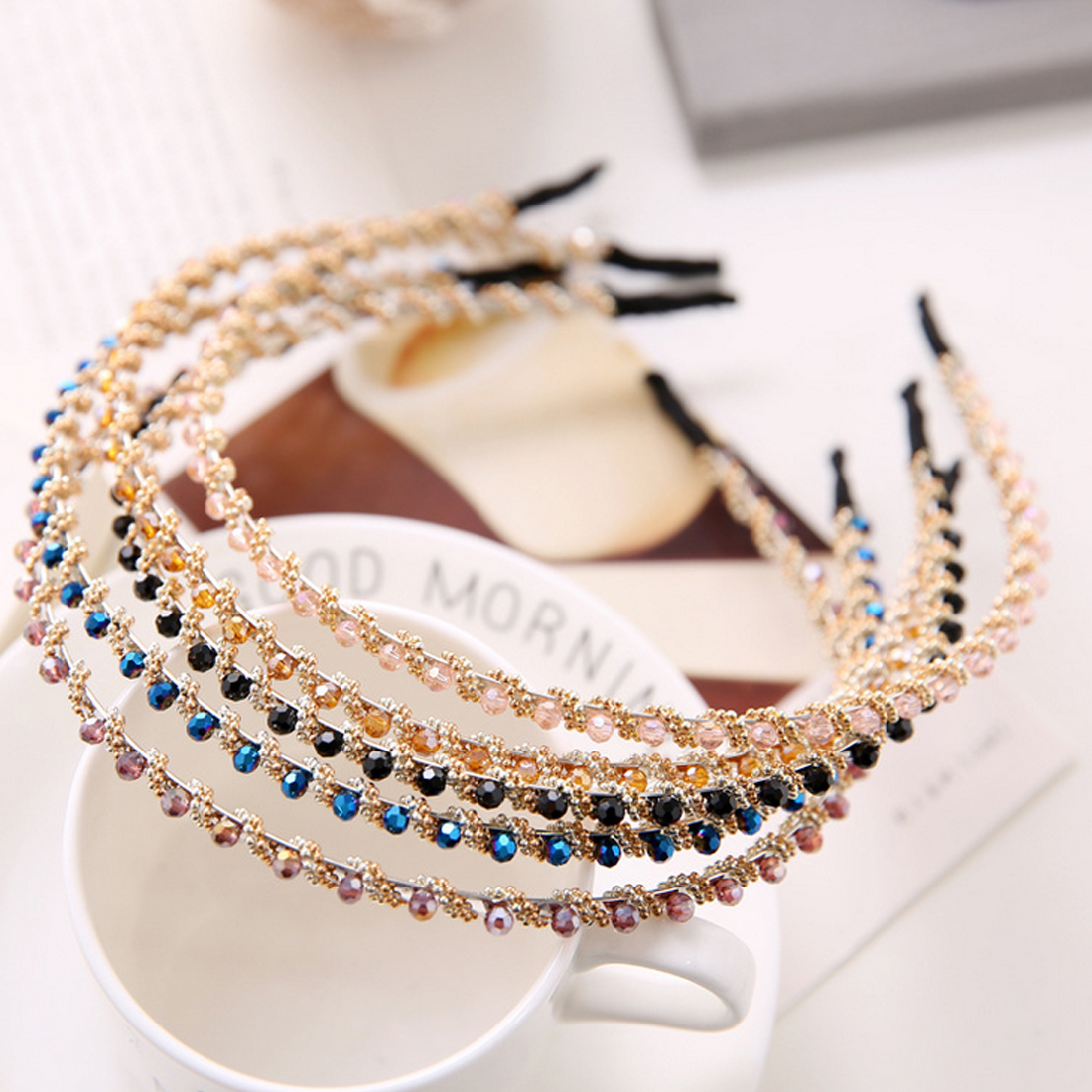 Fashion Crystal Rhinestone Hairband Headband Head Piece Hair Braider Styling Tools Accessories for Women Lady Girl
