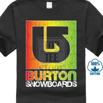 Burton Snowboards Logo Black T Shirt Men Short Sleeve O Neck Tops Tee