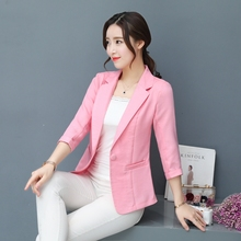 Womens small suit jacket new casual spring and autumn womens seven-point sleeves cotton