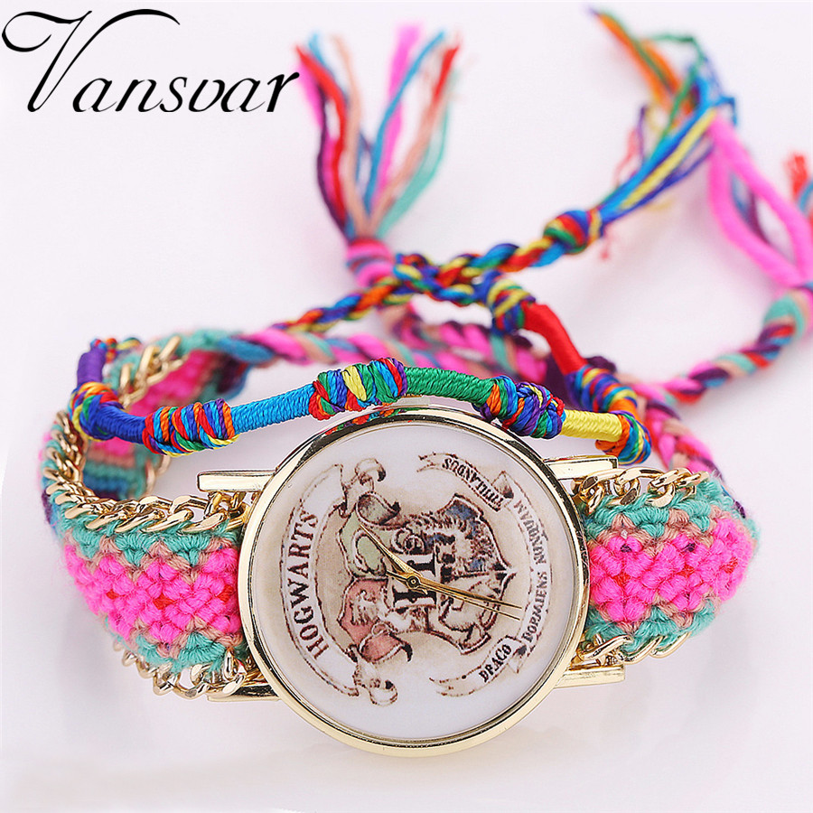 Vansvar Brand Handmade Braided HOGWARTS Magic School Watch Ladies Friendship Bracelet Quarzt Watches Relogio Feminino 2024