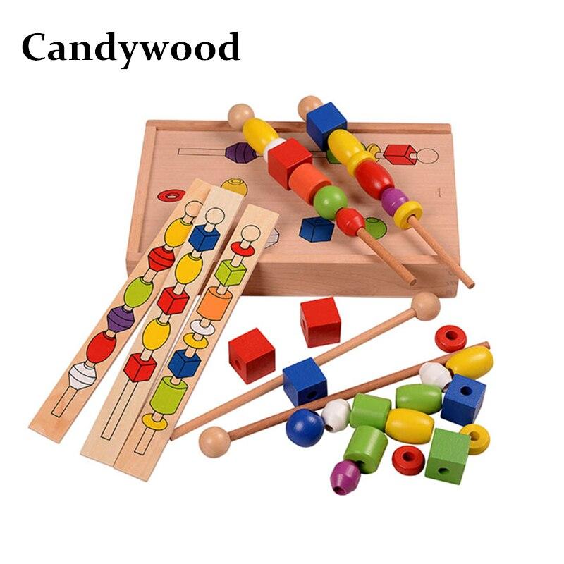 Candywood enfants jouets éducatifs Montessori perle séquençage ensemble blocs avec boîte en bois blocs en bois pour enfants garçon fille cadeau