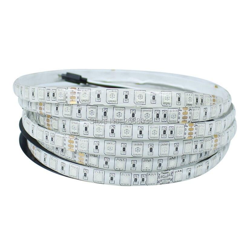 RGB LED Strip Flexible Lights DC 24V SMD 5050 300LED 5M Lampada LED Light Tape Ribbon Lamp waterproof IP65