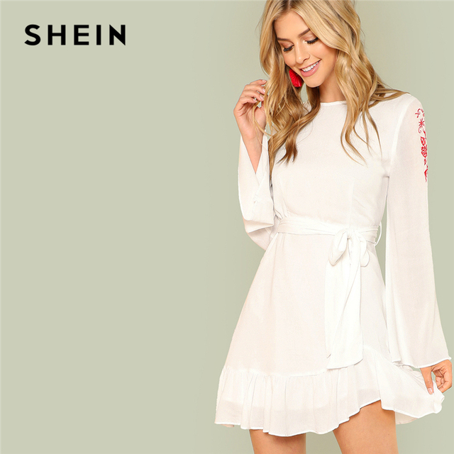 72150df093a4 SHEIN White Elegant Ruffle Hem Floral Embroidered Long Sleeve Boat Neck  Belted Asymmetrical Dress Summer Women