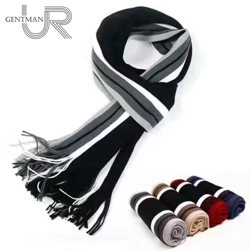 Scarf Men Tassels Striped Winter High-Quality Newest-Design Casual Cotton With Warm Knit