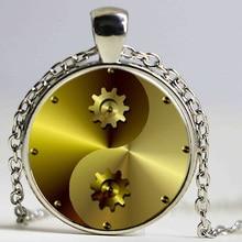 Steampunk Gear Tai Chi Antique Bronze Necklace Glass Cabochon Statement Silver Chain Pendant Necklace Accessories Jewelry