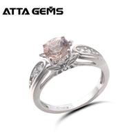 Натуральный морганит стерлингов серебряные кольца для женщин 100% натуральный берилл Morganite Faced романтический стиль обручальное Christmans подаро