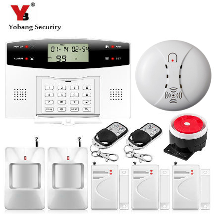 YobangSecurity 433MHz Metal Remote Control Home Security GSM Auto Dial Alarm System Smoke Detector PIR/Door Sensor 433mhz dual network gsm pstn sms house burglar security alarm system fire smoke detector door window sensor kit remote control