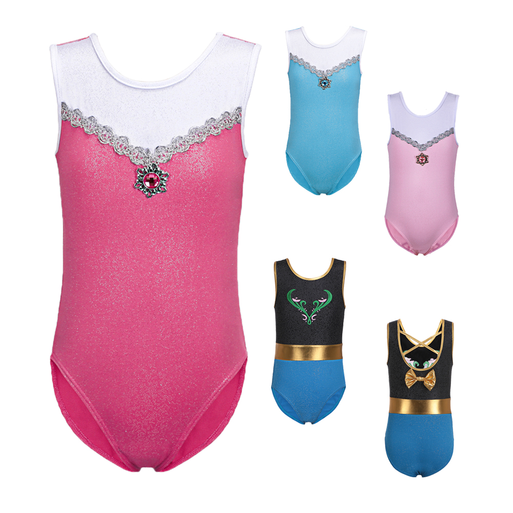 3-12Y Toddler Girls Gymnastics Leotard Sleeveless Dance Leotards for Kids Teens Training Biketard Dancewear Practice Costume