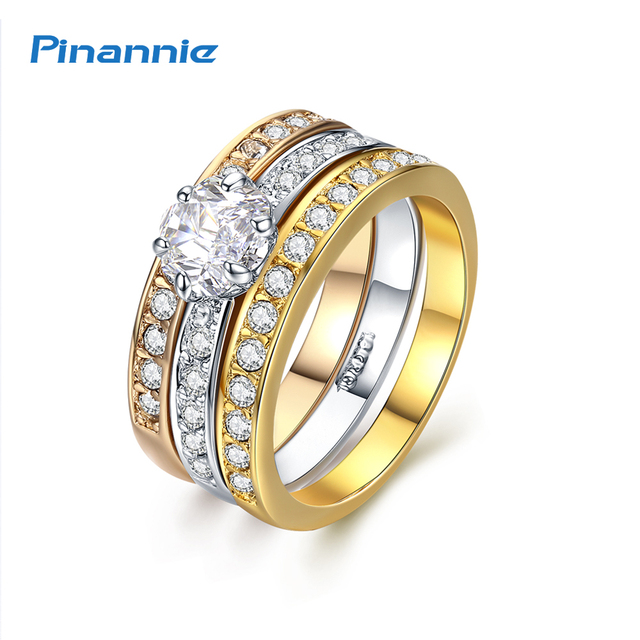 Pinannie Valentineu0027s Day Gift Engagement Rings For Women Wedding Jewelry  Anillos 3 Gold Colors Anel