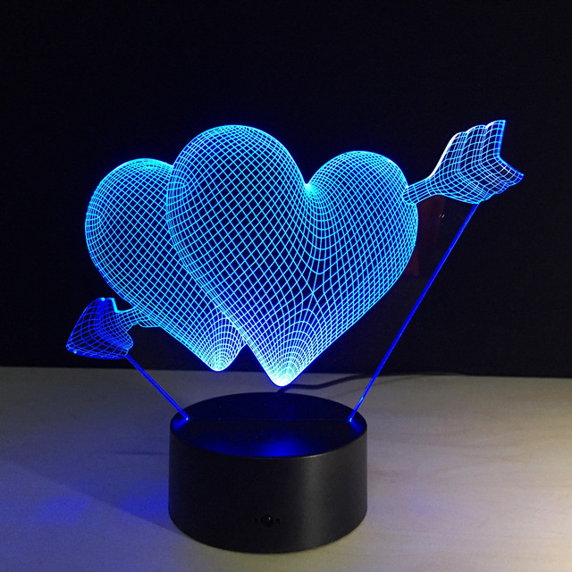 Remote Heart Led Double Lamp Night 3d Baby Acrylic Light Color 7 Y7byfg6