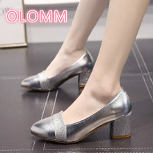 2019 Korean version of thick heels female spring and autumn tip shallow comfortable high large size work shoes