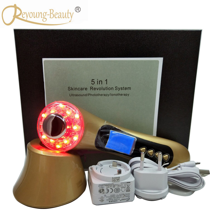 5 IN 1 Galvanic Spa Ultrasonic Led Light Photon Skin Rejuvenation Facial Pores Cleanser Face Lift Firm Smoothing Beauty Machine