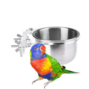 Birds Feeder Parrot Birds Hamsters Feeder Food Container Stainless Steel Cup Food Bowl Drinkers for Birds 1