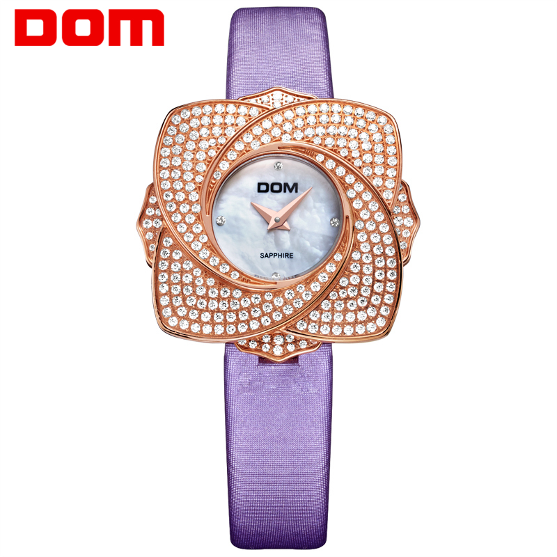 DOM women's watches luxury brand watches waterproof style quartz leather sapphire crystal wrist watches for women clock New G637 цена и фото