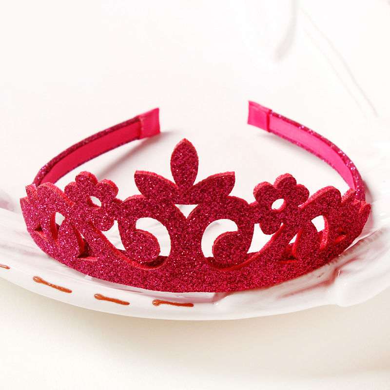 #50907 Kid Girls Party Use Bezel Festival Hair Accessories Gold Sliver Red Glitter Headband Crown Hairbands