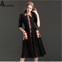 Sexy Elegant 2017 Summer Lace Dresses Half Sleeve Peter Pan Collar Floral Embroidery Hollow Knee-Length Black Dress