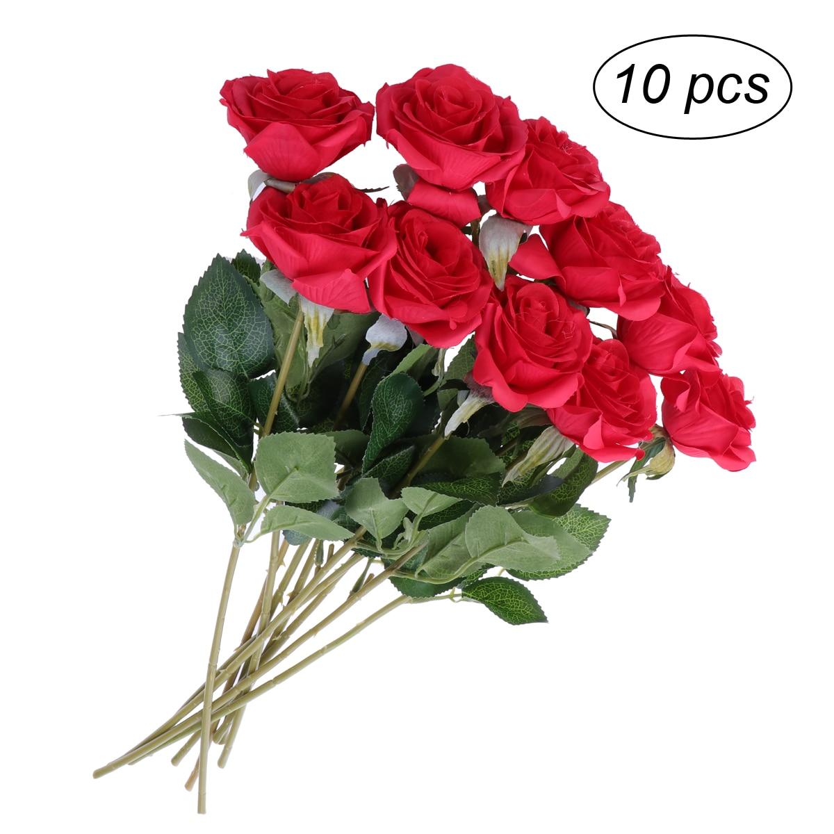 10pcs Artificial Flowers Long Stem Diy Silk Rose Flower Bouquet For