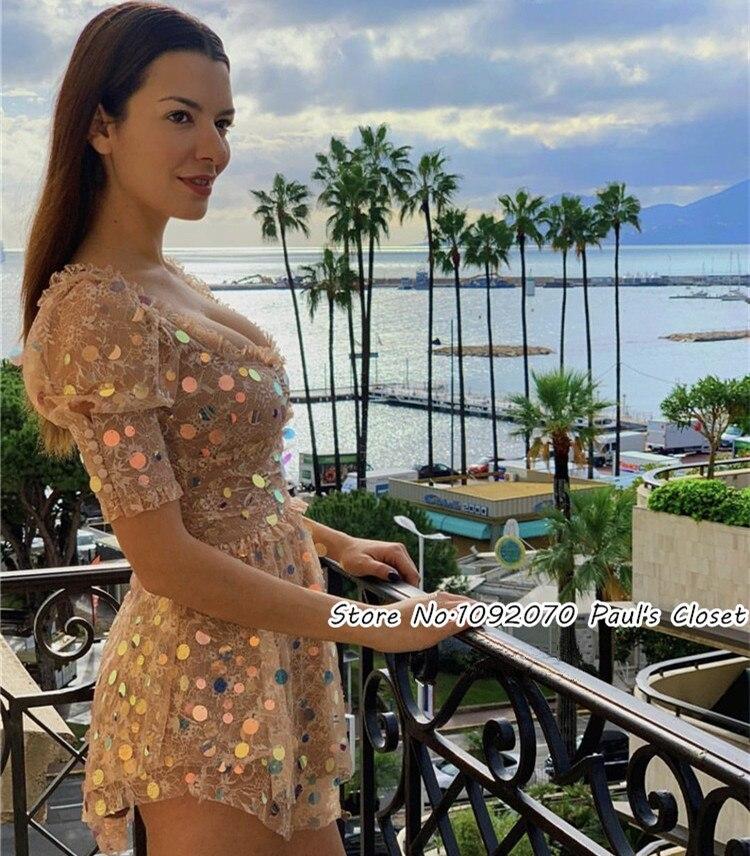 Femmes manches bouffantes Paillettes scintillantes Floral dentelle Ace Mini robe avec des Paillettes tout au long
