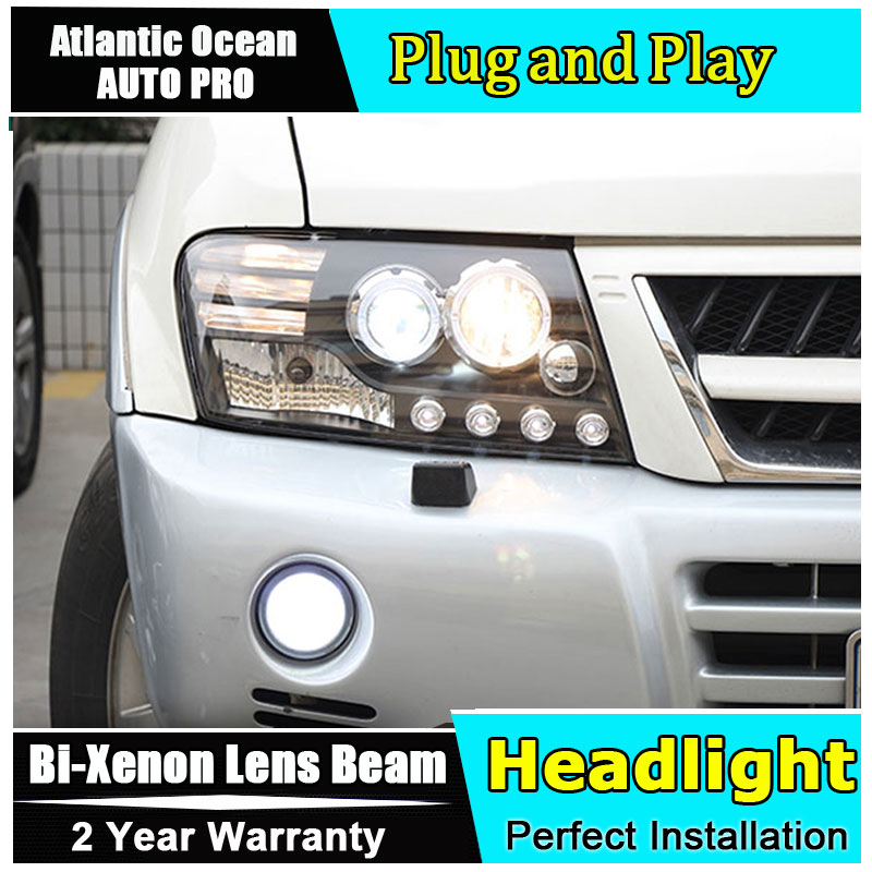 Auto.Pro Car Styling for Mitsubishi Pajero V73 LED Headlight Bi Xenon Headlights drl Lens Double Beam HID KIT Car Parts hireno headlamp for 2016 hyundai elantra headlight assembly led drl angel lens double beam hid xenon 2pcs