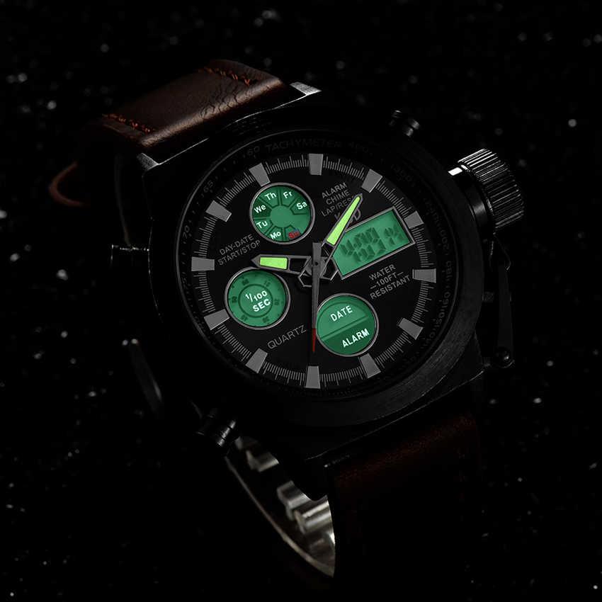 แบรนด์หรูผู้ชายว่ายน้ำควอตซ์ Analog กีฬากลางแจ้งนาฬิกาทหารชายนาฬิกา LED นาฬิกา Relogio Masculino ของขวัญ