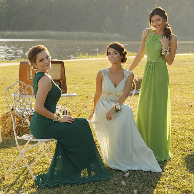 Ever Pretty Elegant Women Long Bridesmaid Dresses Chiffon A-Line Sleeveless Formal Sexy Green Party Wedding Guest Dresses