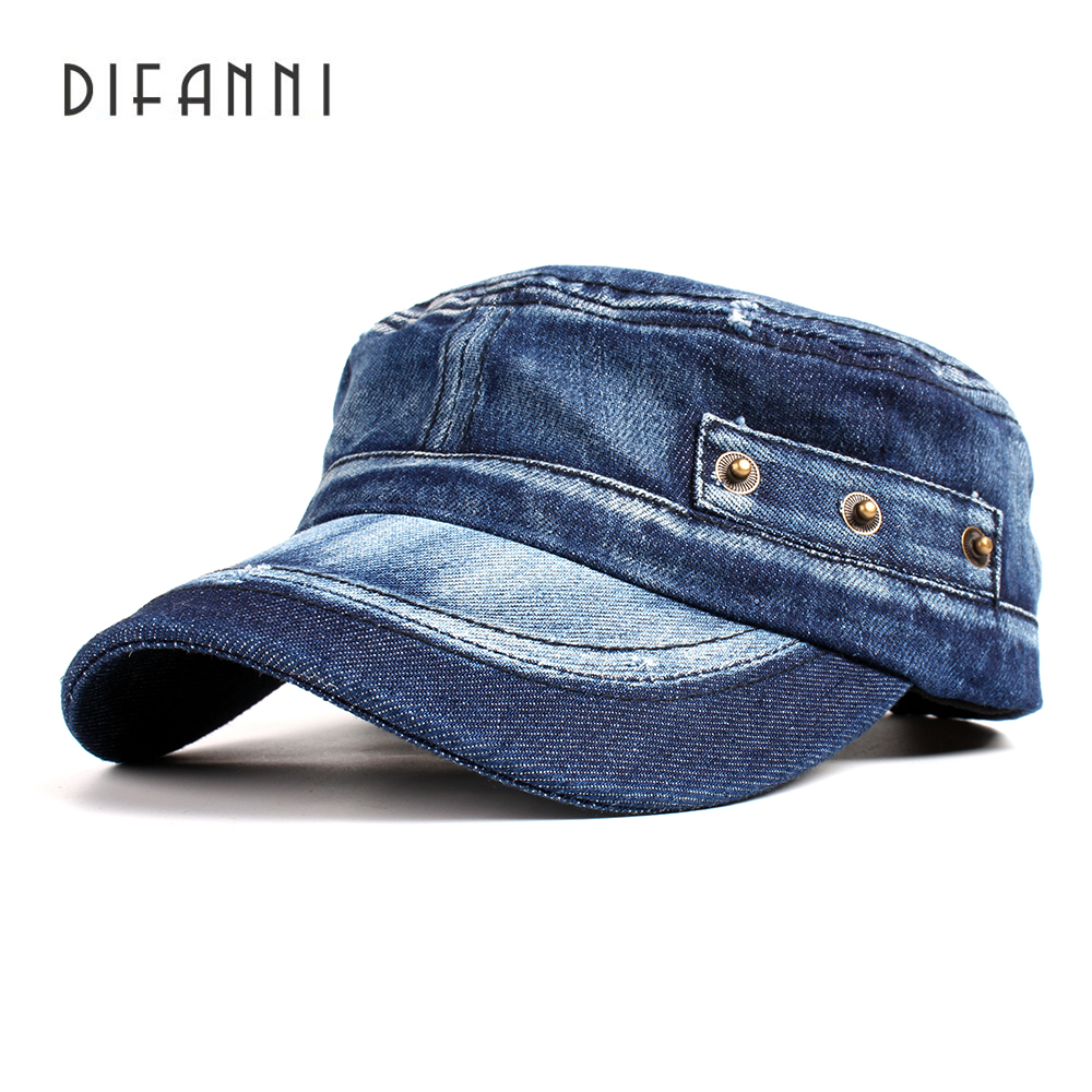 Difanni Casual Cadet   Baseball     Cap   Adjustable Washed Denim Cotton Hat Solid Snapback Outdoor Flattop Gorras Hip Hop Men Women   Cap