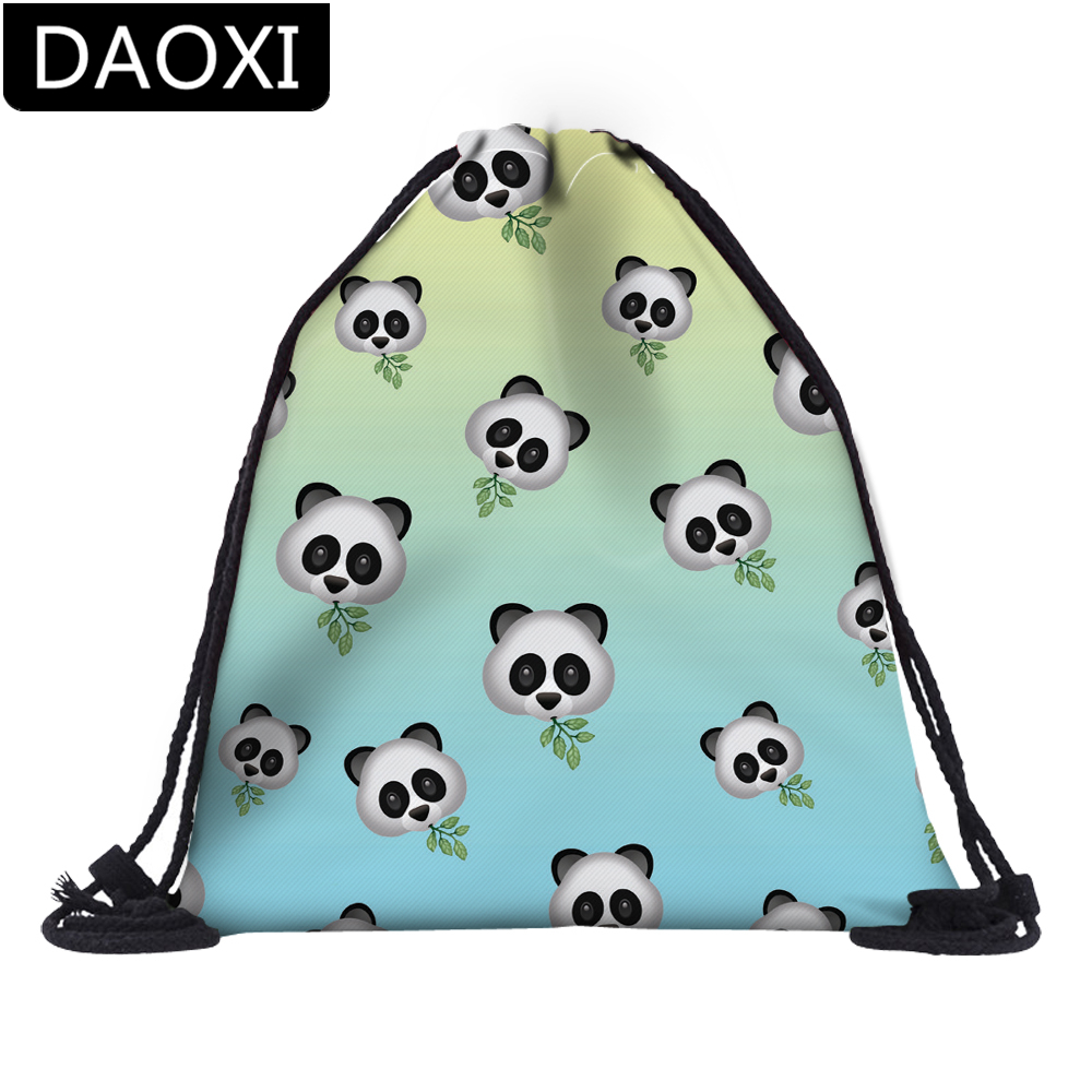 DAOXI 3D Printed Emoji Panda Drawstring Bags For Travel Backpacks DX37452