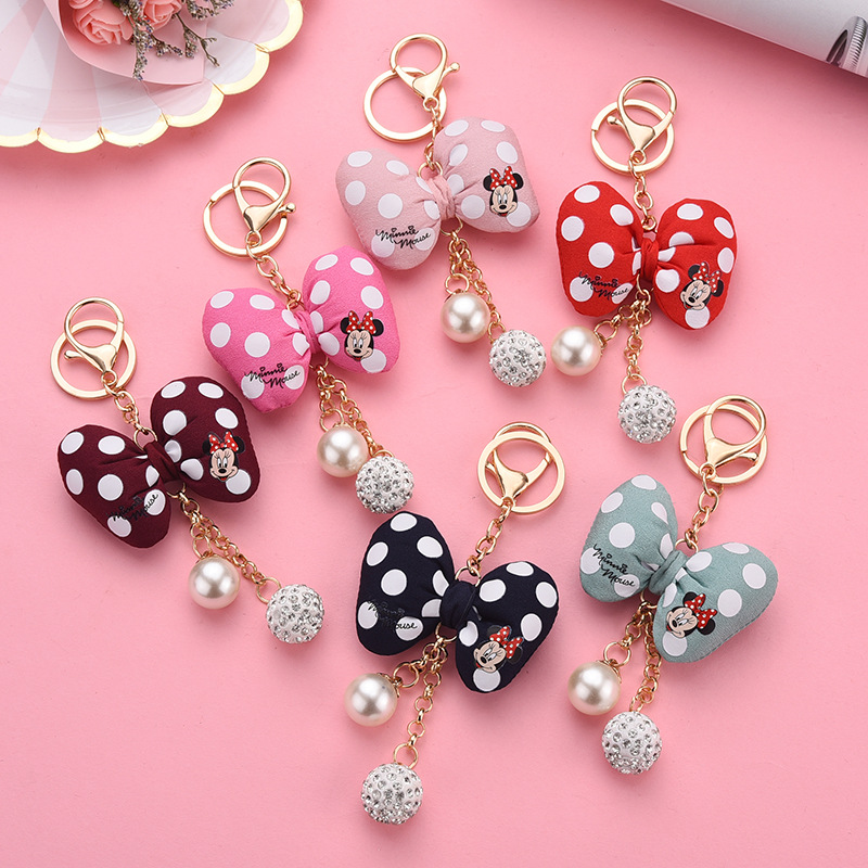 Cartoon Cute Mickey Fluffy Rabbit Fur Ball Keychain Women Girls Jewelry <font><b>Pompom</b></font> <font><b>Key</b></font> <font><b>Ring</b></font> Holder Gift Porte Clef <font><b>Key</b></font> Chain image
