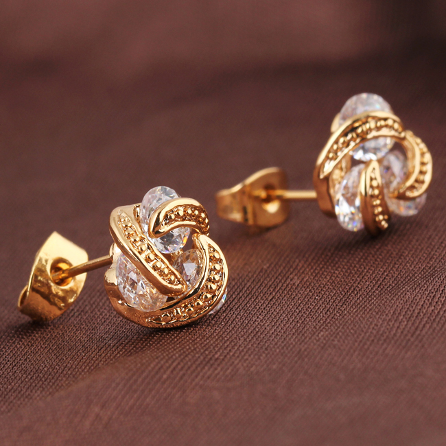 648da6179 Gold Filled Earring CC Brand New Elegant Jewellery Gold Color Clear Crystal  Twisted Design Small Stud Earrings-in Stud Earrings from Jewelry &  Accessories ...
