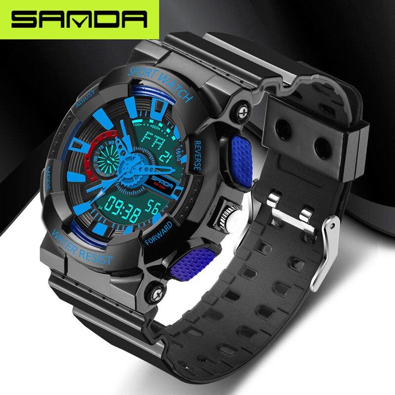 SANDA-montre numérique pour hommes, montre-bracelet à Quartz analogique, montre-bracelet étanche, style militaire, montre LED 5