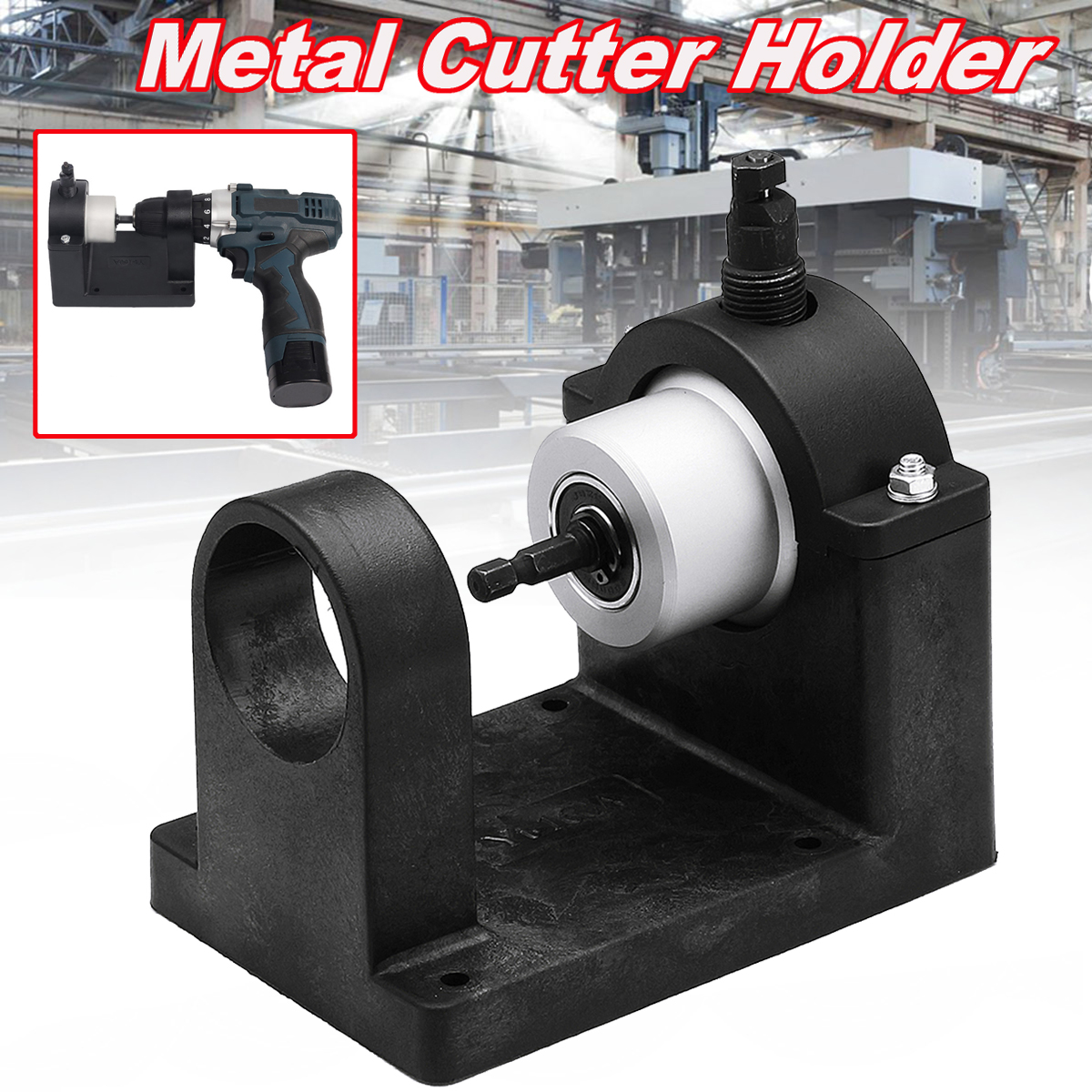 Metal Nibbler Cutter Double Head Sheet with Nibbler Cutter Holder Bracket for Electric Drill Power Tool Accessories