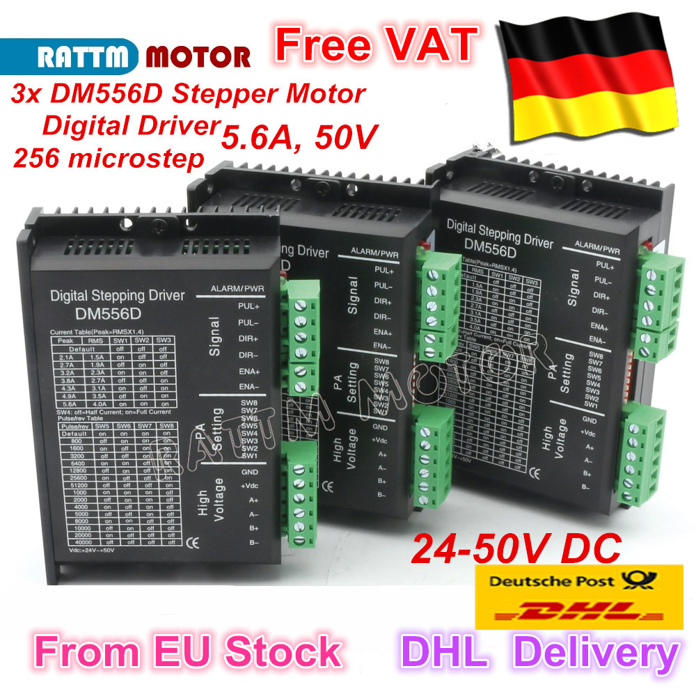 3PC DM556D Digital stepper motor driver 5.6A 256 microstep High performance design fit nema17 to nema 23 motor CNC