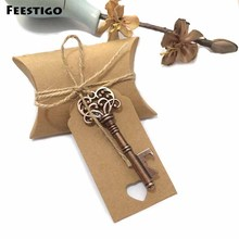 Feestigo 50pcs Wedding Favors For Guests Candy Box Antique Skeleton Key Bottle Openers With Escort Card Party Supplies