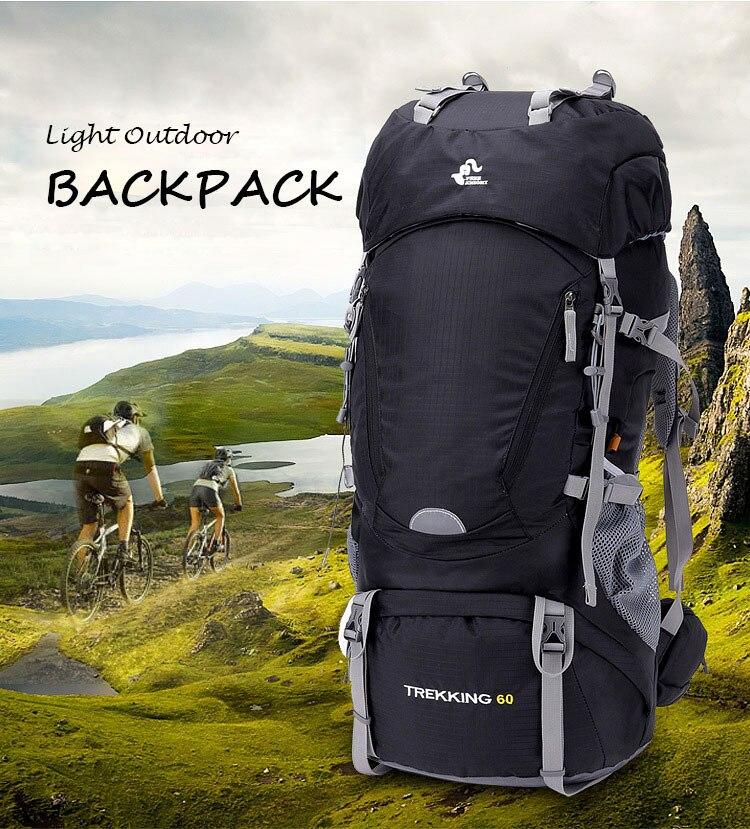 Sac à dos extérieur 60L sac de Camping étanche alpinisme randonnée sacs à dos sac de Sport Molle sac à dos d'escalade avec couverture de pluie