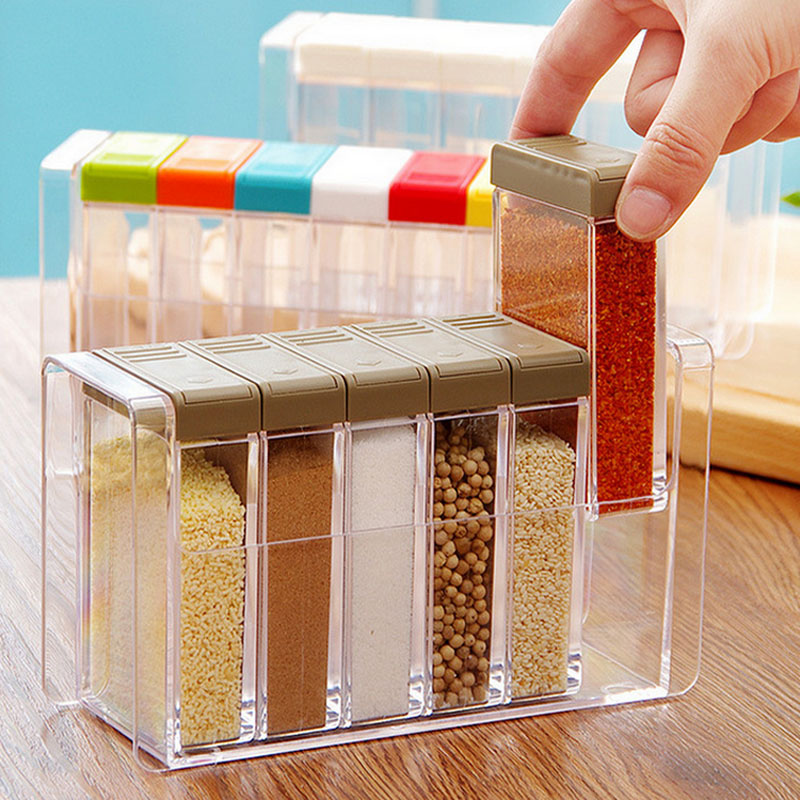 6Pc/Lot Spice Boxes With Lid Kitchen Accessories Sugar Bowl Transparent Plastic Seasoning Boxes Salt Container Storage Cans