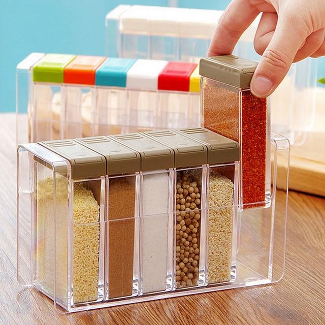 6Pc/Lot Spice Boxes With Lid Kitchen Accessories Sugar Bowl Transparent  Plastic Seasoning Boxes Salt