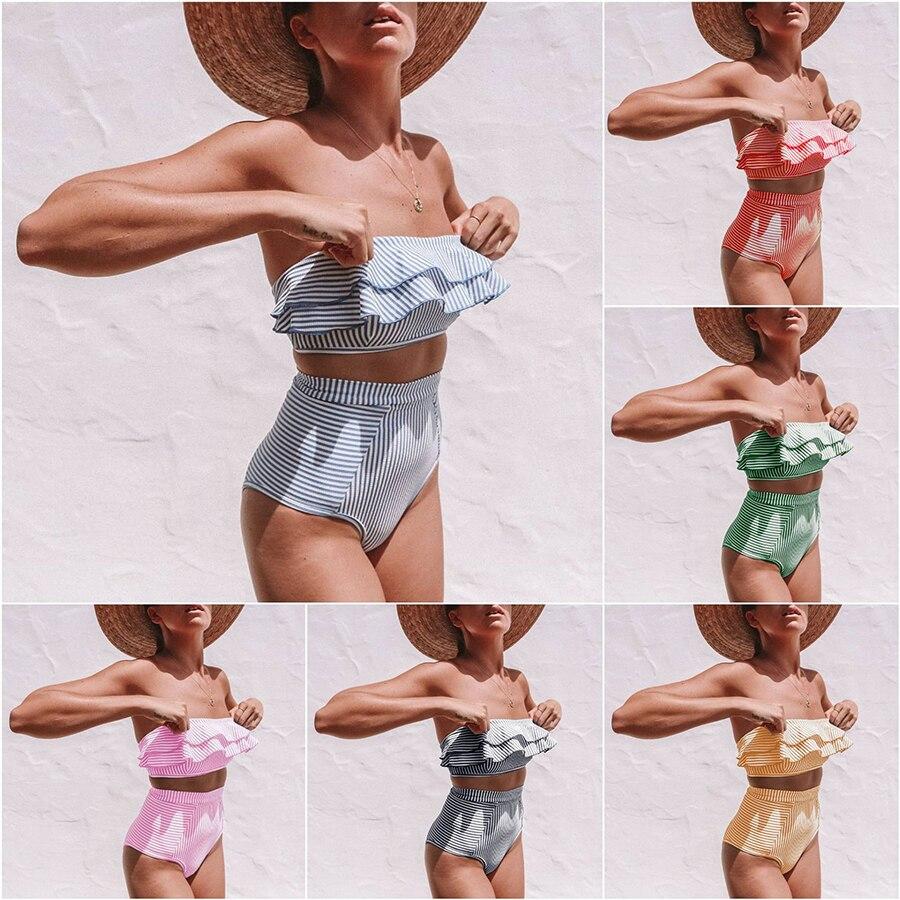 Sexy Bikini 2019 High Waist Ruffle Bikini Set Strapless Women Swimwear Blue Striped Biquinis Bathing Suit Maillot De Bain Femme