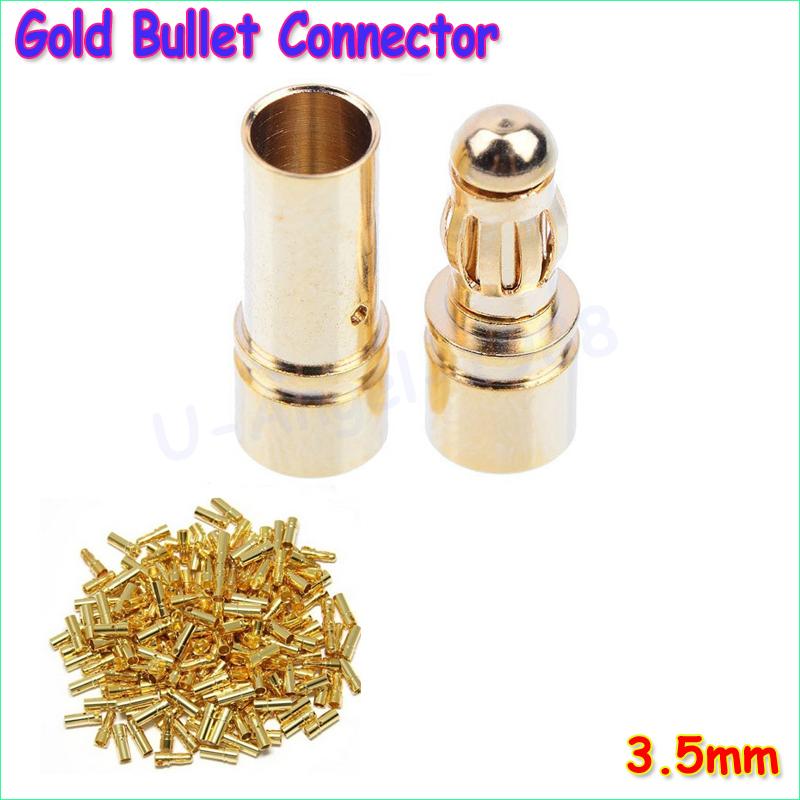 20 pair lot brushless motor high quality banana plug 3 0mm 3mm gold bullet connector plated for esc battery 20pcs/lot 3.5mm Gold Bullet Banana Connector Plug For ESC Battery Motor (10 pair)