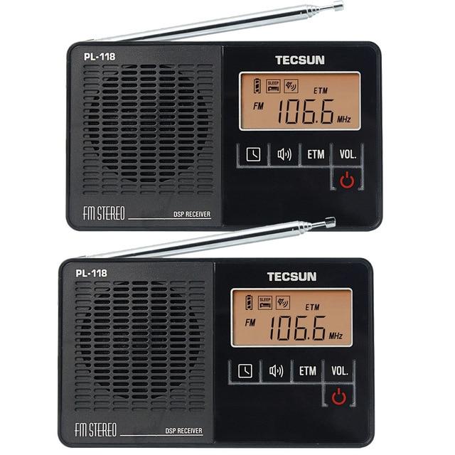 2 шт. Tecsun PL-118 Радио Мини DSP ЭТМ FM Стерео Радио Будильник Таймер Сна Портативный Радиоприемник FM Y4142A