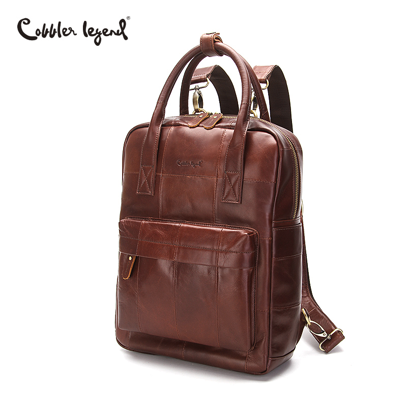 Cobbler Legend Women Men Backpack Genuine Leather Backpack Schoolbag for Girls Shoulder Bag Large Capacity Female Travel Bags